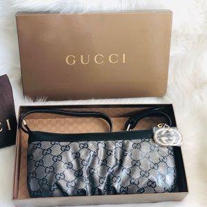 Gucci GG Crystal Black Leather Pochette Handbag
